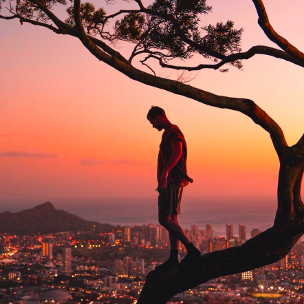 Overlooking city at sunset